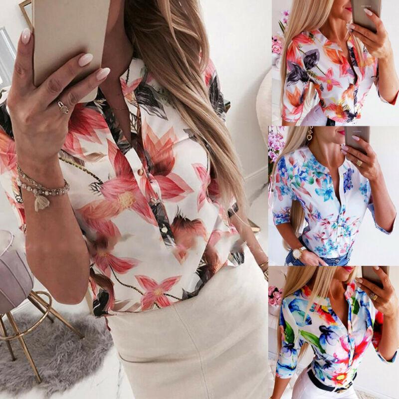 Blusas sueltas florales de manga 3/4 de verano para mujer camisa femenina OL blusa informal con botones para señoras ropa de calle 2019 nueva llegada