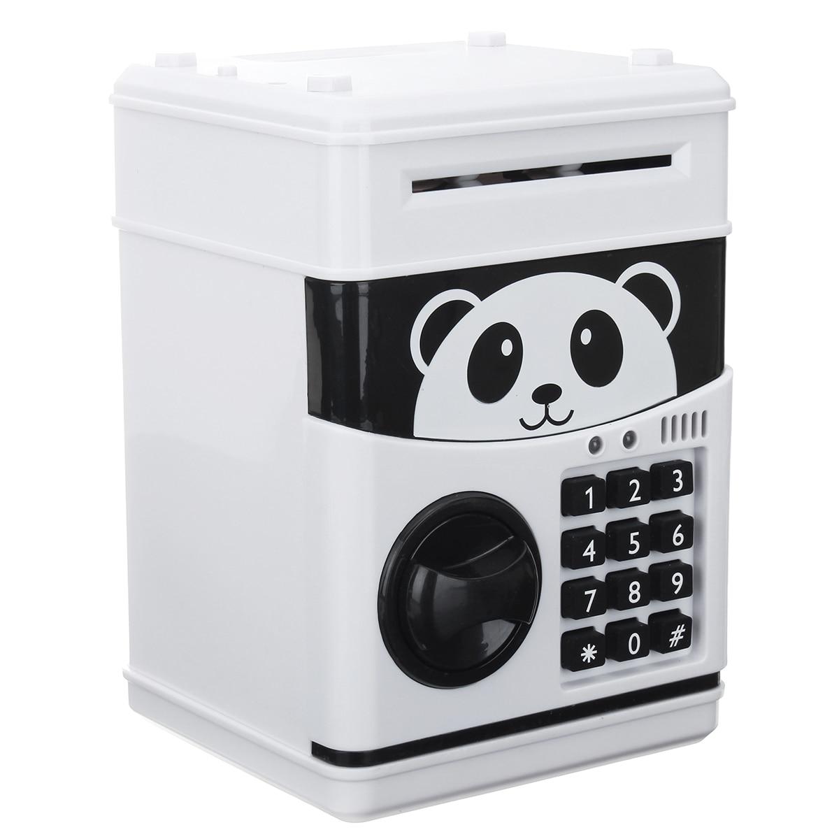 Cash Coins Saving Box Bank Safe Box Automatic Deposit Banknote Christmas Gift Panda Electronic Piggy Bank ATM Password Money Box