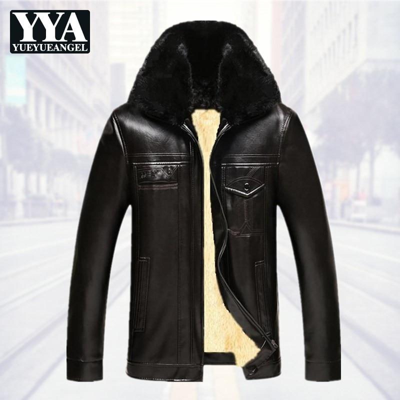 Casual Winter Thick Warm Fleece Liner Men PU Leather Jackets Long Sleeve Zipper Faux Fur Collar Lapel Male Loose Coats Plus Size