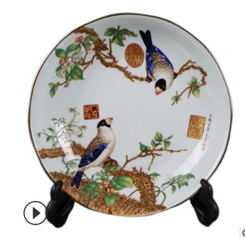Simple pottery and porcelain handicraft archaize do old green glaze gold pastel flower and bird pattern lace plate living room d