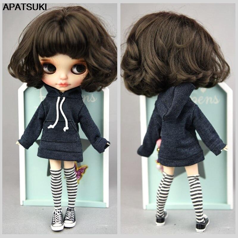 Sudadera hecha a mano azul oscuro para Blythe muñeca abrigo ropa de muñeca de moda para Blyth muñeca tapas regalo niños juguete 1/6 accesorios de muñecas