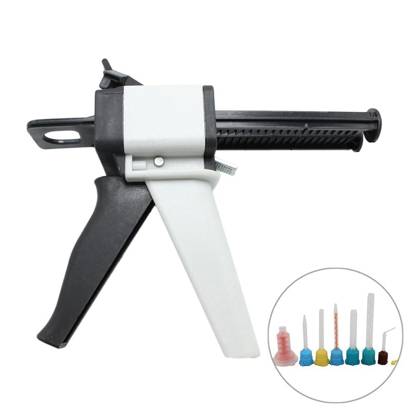 Universal Fitting Dental Impression Mixing Silicone Rubber Tray Dispenser Gun Dispensing Caulking 1:1 /1:2 50ml Dental Lab Tools