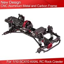 CNC Aluminum Metal and Carbon RC Car Frame for 1/10 SCX10 AXIAL RC Rock Crawler Climbing Car DIY Parts Accessories