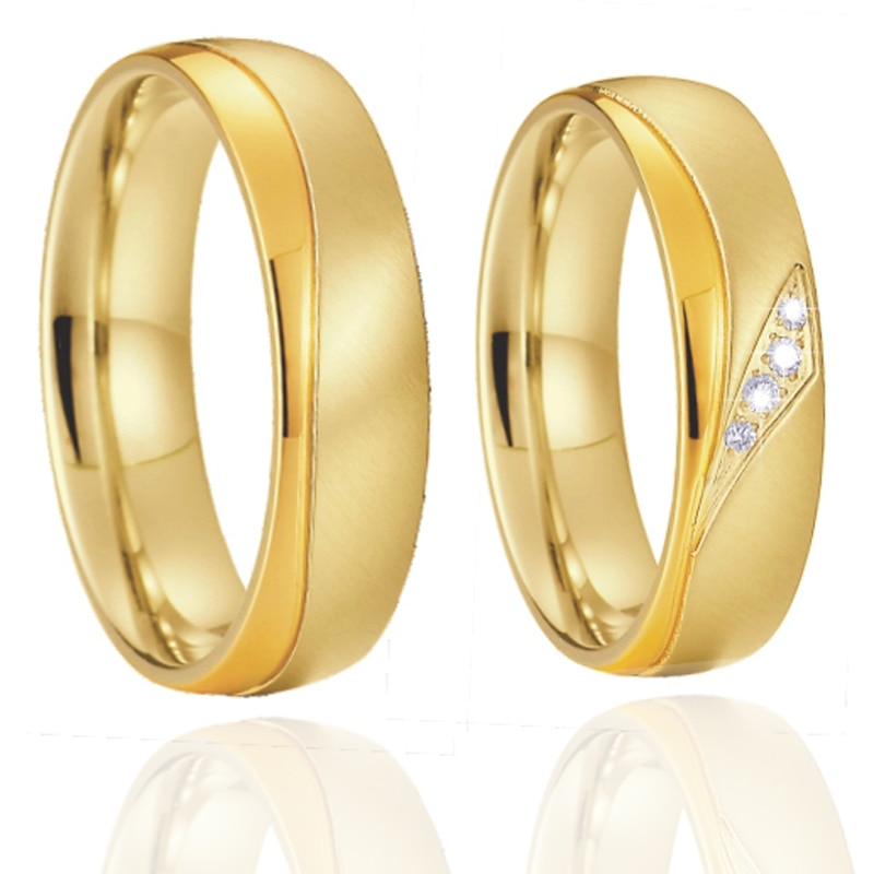 1 pair 18k gold plated marriage wedding rings set for couples love alliance stainless steel jewelry