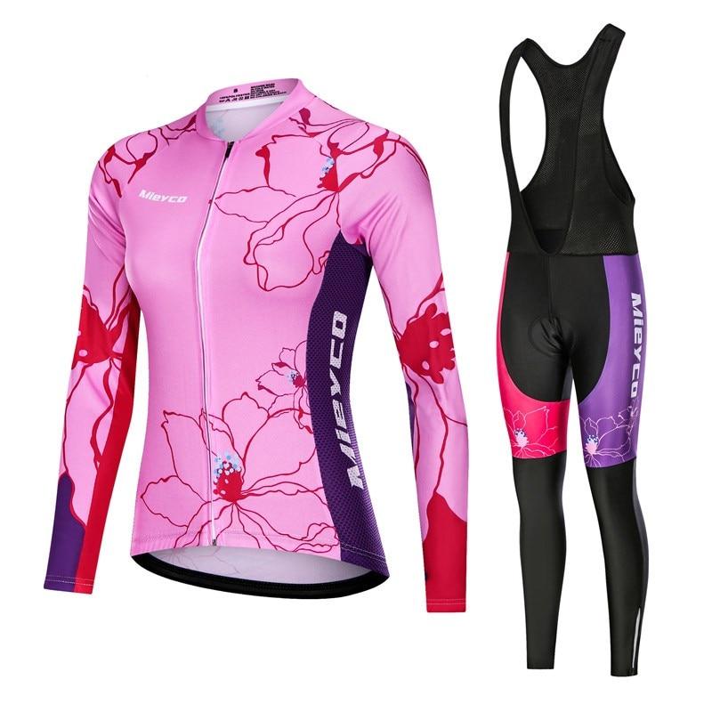 Conjunto De Jersey De Ciclismo para Mujer, Ropa De manga larga para...