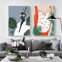 Affiches et imprimes de style nordique moderne et Simple  en Vogue  plante fille  toile  peinture artistique  images murales pour salon  decoration de la maison
