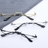 1pc 3 colors fashion style small half frame glasses ultralight clear glasses portable gift for men and women flat no mirror
