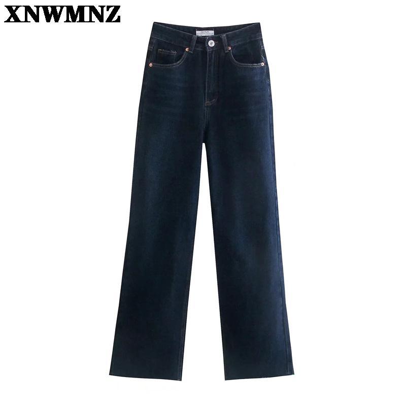 بنطلون جينز نسائي أزرق ربيعي للخريف من XNWMNZ جينز سيدات عالي الخصر من قماش الدنيم موضة 2021 بنطلون بأرجل واسعة على الطراز الكوري