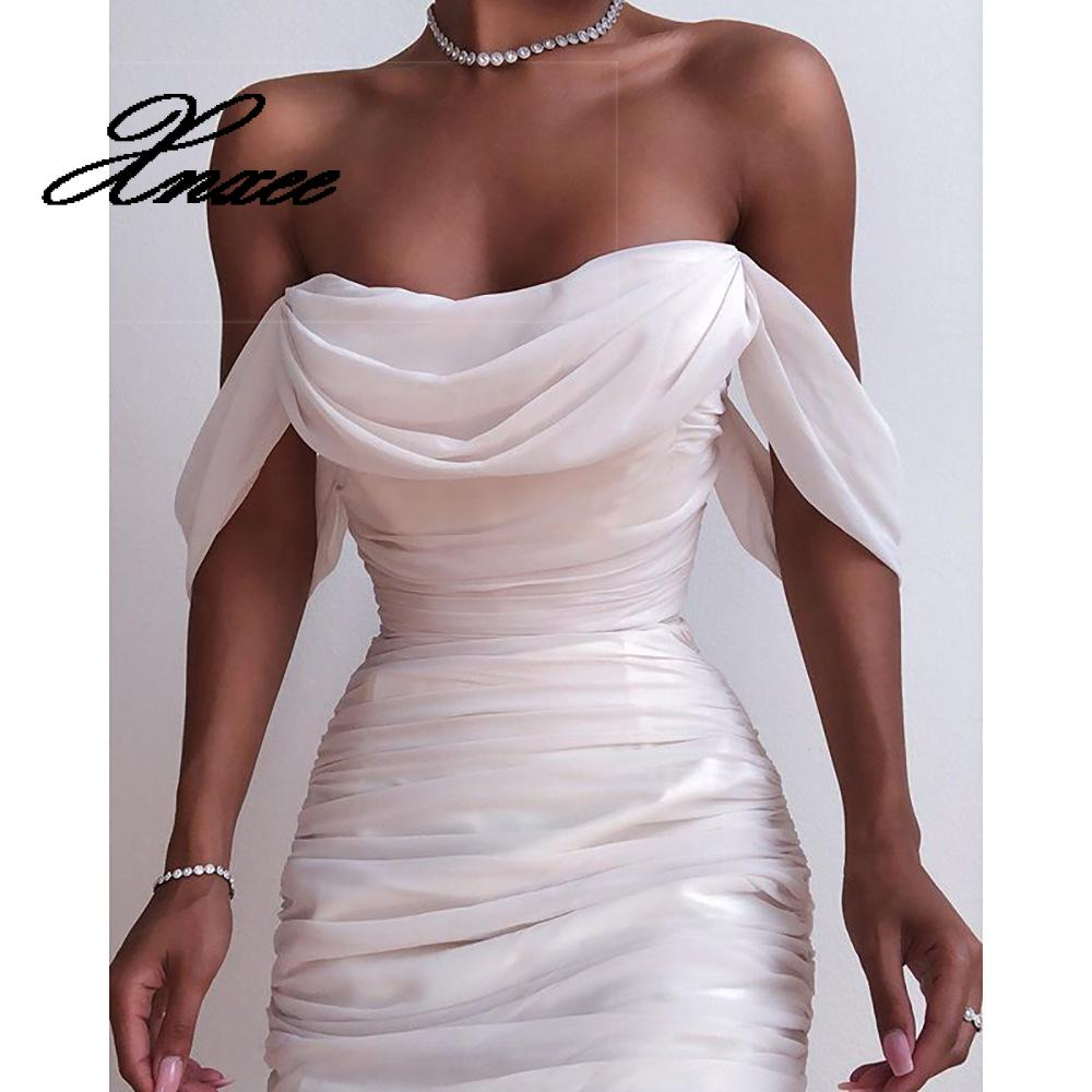 2020 autumn Off Shoulder Pleated White bodycon Dress Women Strapless Backless Summer Elegant Sexy Party Dresses Clothes