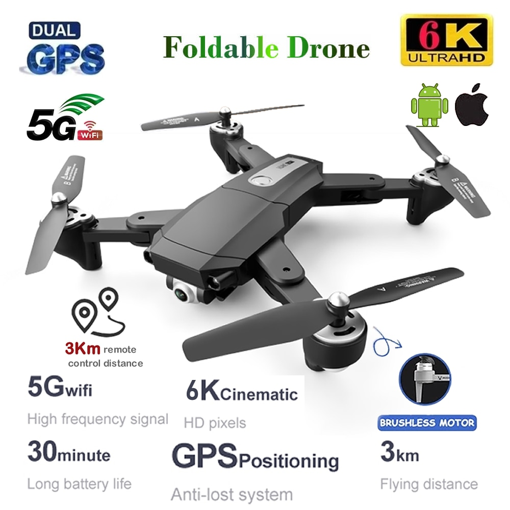 RC Drone GPS with 6K HD Dual Camera Professional Aerial Photography Quadcopter UAV Remote Control Brushless Motor Aircraft