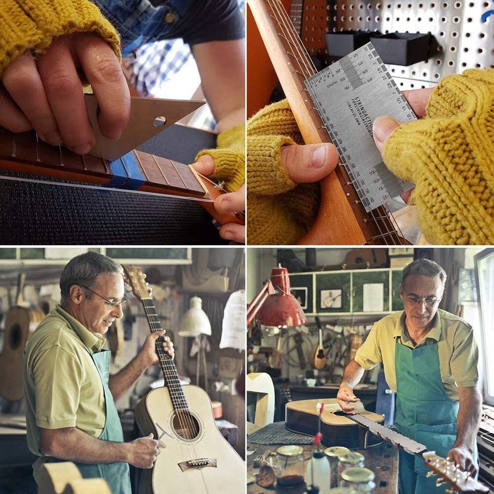 Guitar Luthier Measuring Tools Set Guitar Neck Notched Straight Edge Fret Rocker String Height Gauge Understring Radius Gauge enlarge