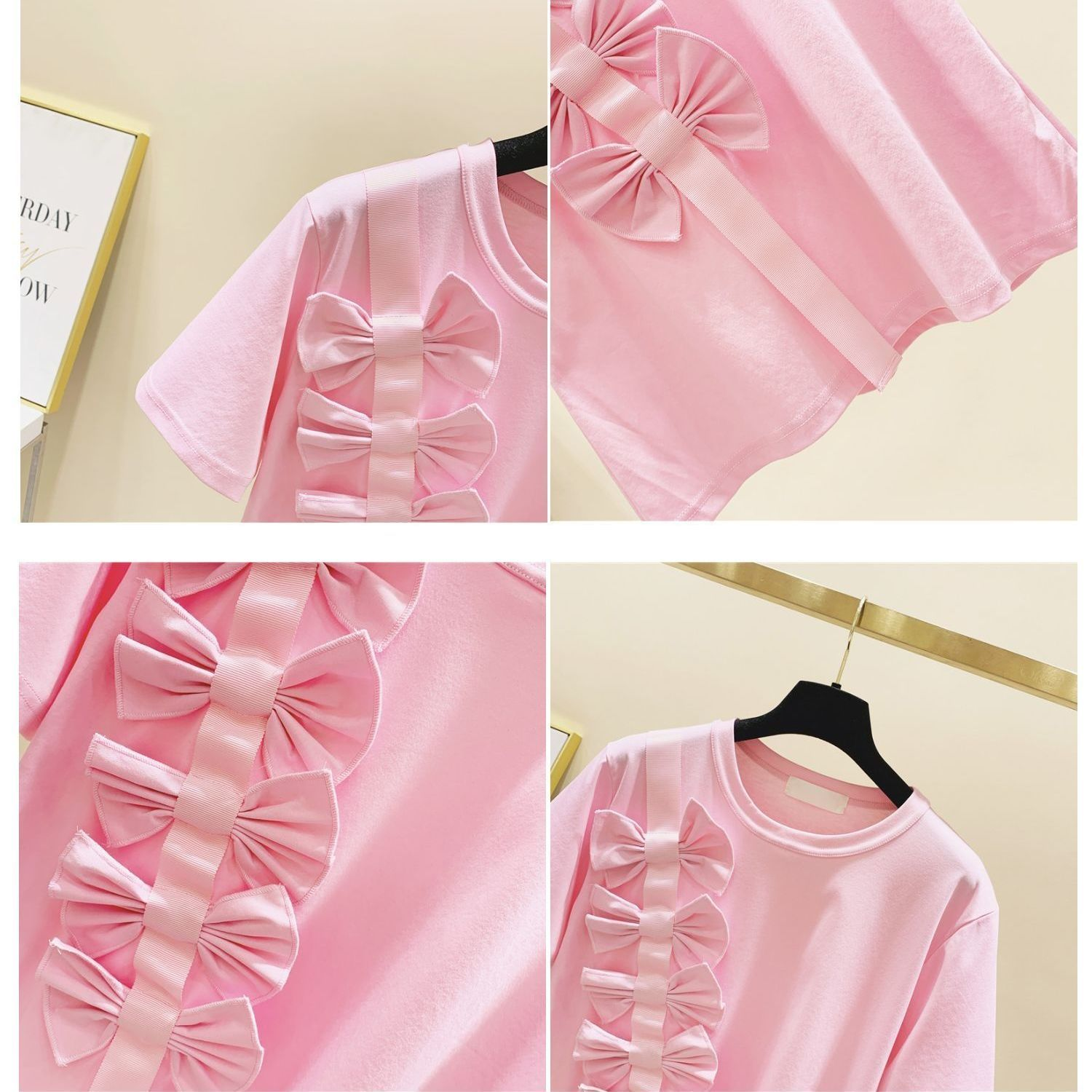 2021 Girls Summer New Korean Style Loose Cotton Girl's T-shirts Medium and Big Children Bow Short Sleeve Western Style Top