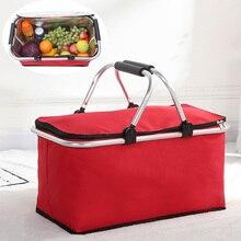 Portable pliant pique-nique Camping randonnée sacs isolé refroidisseur Cool panier alimentaire stockage panier boîte en plein air rouge sacs à déjeuner étui