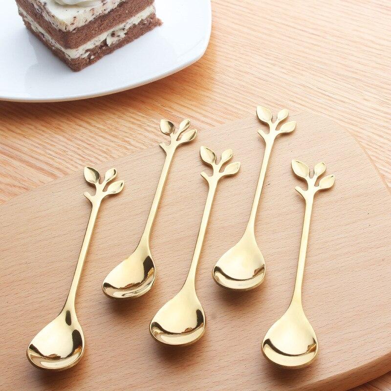 Cuchara de acero inoxidable 304 con forma de flor, cuernos de hoja, cuchara de café, cuchara agitadora, cuchara de té