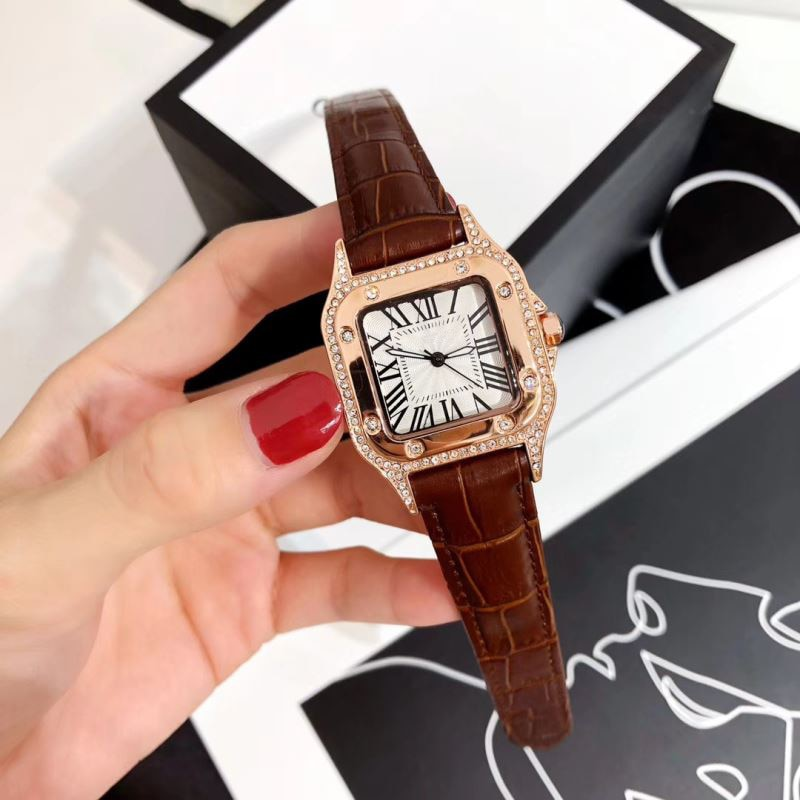 Luxury Watches Ladies Top Brand Fashion Quartz Watches Classic Ultra-thin Watches Square Clock Leather strap Montre femme enlarge