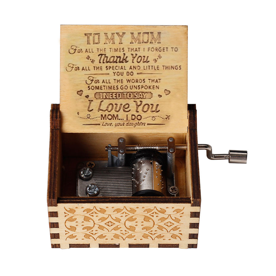 Antique Carved Wooden Music Box My Sunshine Love Dad Love Mom Christmas Gift Send mom Birthday Gift