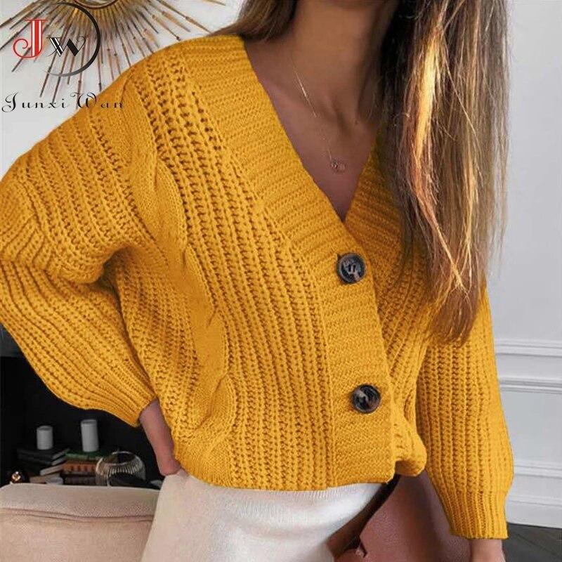 AECU Women Short Cardigan Knitted Sweater Autumn Fashion Winter Long Sleeve V neck Jumper Cardigans Casual Streetwear