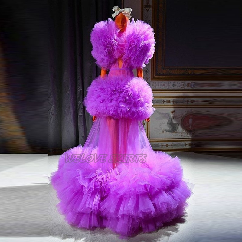 2021 New Trend Beautiful Purple Tulle Dresses for Prom Draped Ruffles Illusion Floor Length Formal Evening Party Gowns vestidos