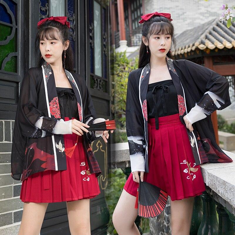 Hanfu صيف جديد جرلي تحسس طائرة كم قطعة واحدة مطوي تنورة النمط الصيني و عنصر الصينية دعوى فئة الملابس