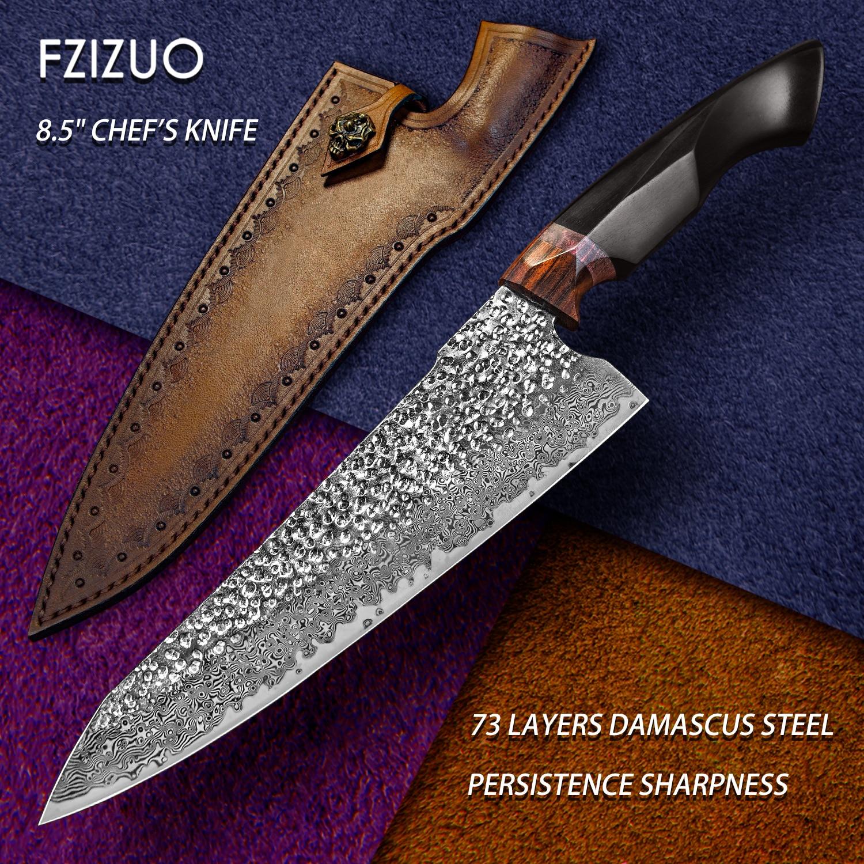 FZIZUO 8.5 بوصة عالية الكربون VG10 دمشق الصلب الشيف سكين الأبنوس مقبض Gyuto سكين الفولاذ المقاوم للصدأ سكاكين المطبخ أدوات الطبخ