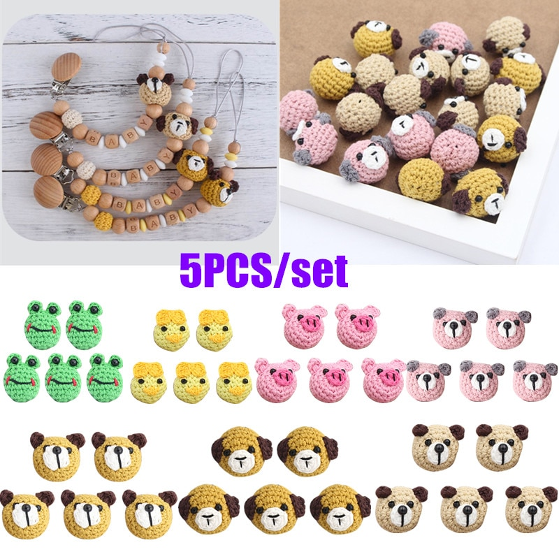 AliExpress - 5 Pcs/Pack Handmade Crochet Woolen Beads Cartoon Animal DIY Pacifier Clip Chain Accessories Baby Teething Soother Decor Toys
