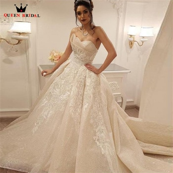 Vintage Dubai Wedding Dresses Ball Gown Sequin Tulle Lace Beading Luxury Bridal Gown 2022 New Design Custom Made DS85