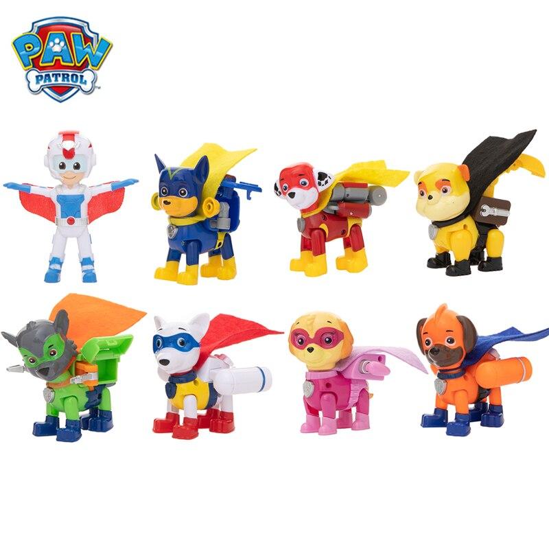 8 Teile/satz Paw Patrol Superman Apollo Rettungs Hund Cartoon Modell Ryder Patrouillen Welpen Anime Action Figure Spielzeug Kind Geburtstag Weihnachten geschenk