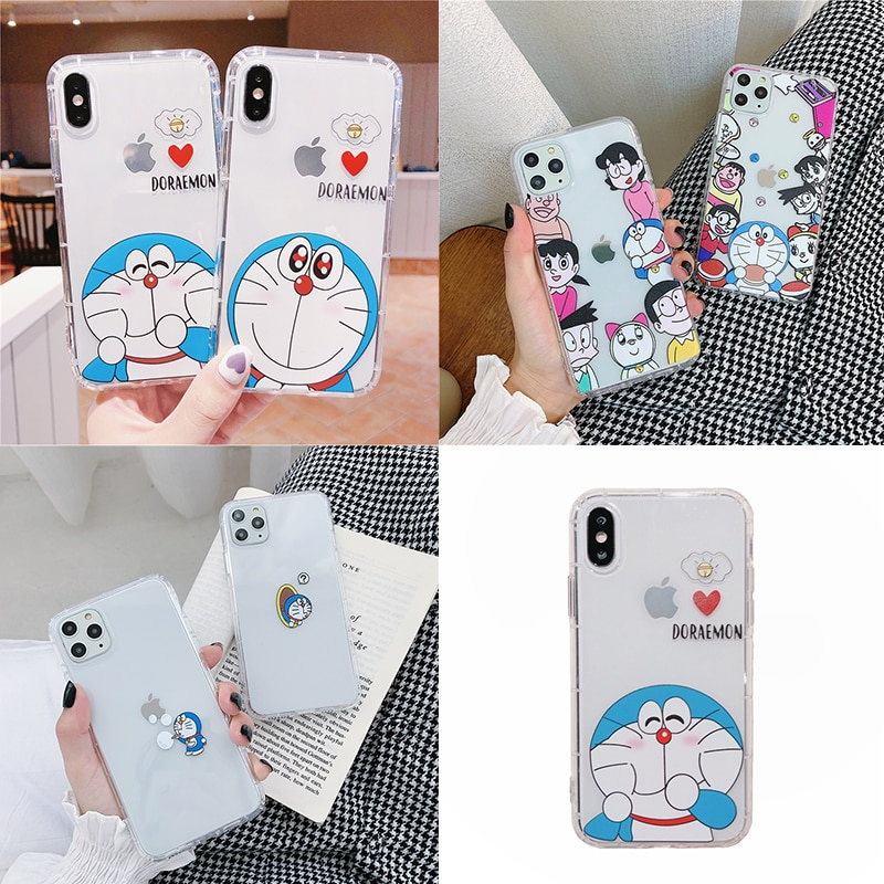 Japón animé Doraemon funda de teléfono para iPhone 11 Pro Xs Max XR X 6s 6 7 8 plus dibujos animados lindo claro silicona suave TPU carcasa funda