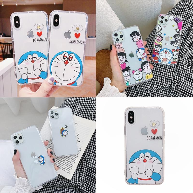 Japan Anime Doraemon telefoon Case voor iPhone 11 Pro Xs Max XR X 6s 6 7 8 plus Cartoon leuke Clear Zachte Siliconen TPU Cover Coque