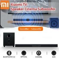 Television Xiaomi haut-parleur bluetooth Barre de son Subwoofer Cinema maison 100 W sans fil Controle tactile 2 1 Canal 5 Son Aux 3 5 mm Fibre optique 2 1 canal 5 unites sonores Support mural de bureau Tweeters pleine