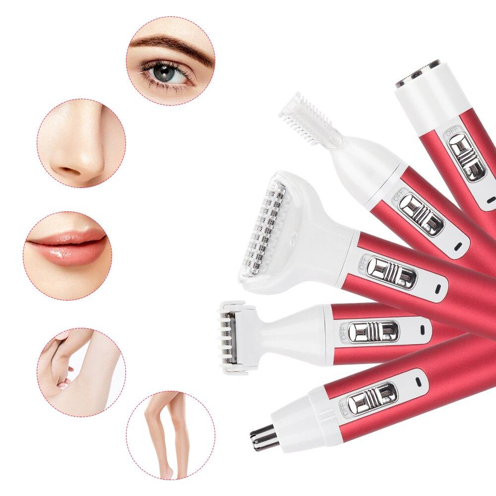 5 in 1 Hair Removal Epilator Electric Razor Shaving Machine Women Shaver Painless Face Beard Eyebrow Nose Trimmer Body Bikini enlarge