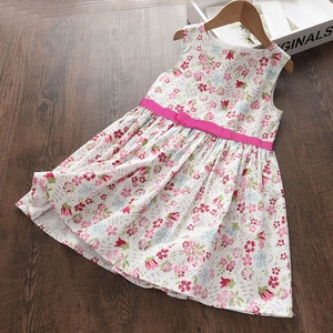 Girls Casual Dresses 2021 Summer Sleeveless Girl Kids Clothes Flower Pattern Princess Vestidos Children Clothing 3-7Y