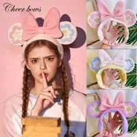 1 pc cute mouse ear hair accessories for women girls fashion big bow headbands coral fleece wash face elastic hair bands holder