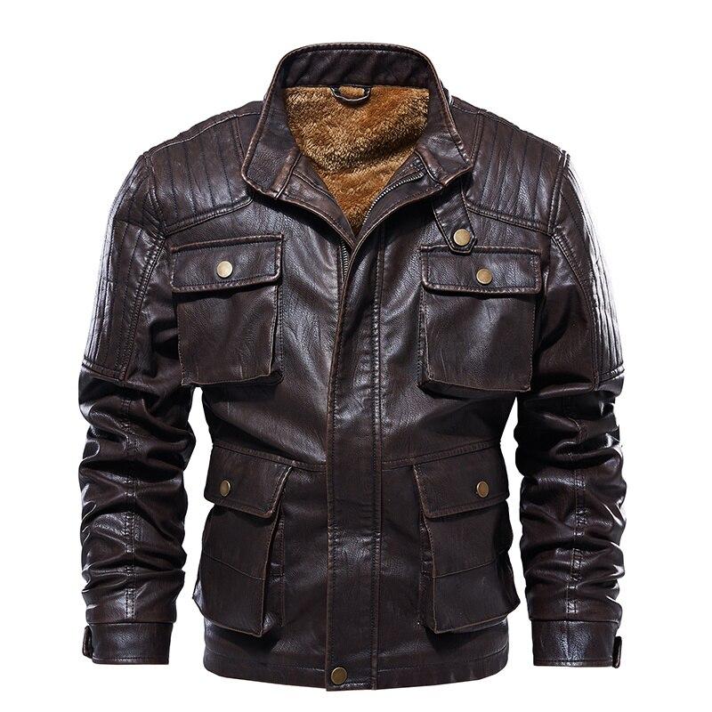 خريف شتاء جديد سترة جلدية الرجال متعددة جيب دراجة نارية سترة جلدية الذكور بوتيك Vintage معطف الرجال السائق سترة 5XL