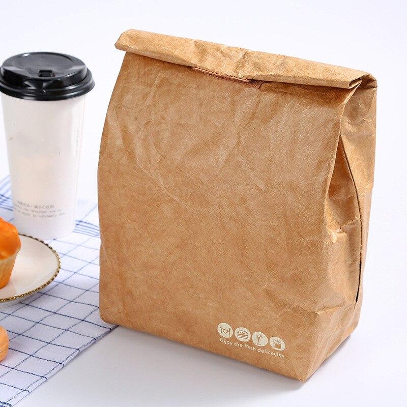 6L de papel marrón almuerzo bolsa el almuerzo reutilizables caja Durable con aislamiento térmico de la bolsa de papel de Kraft cubierta