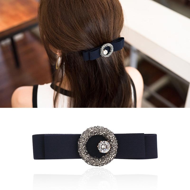 CHIMERA nœud papillon strass pinces à cheveux cristal étincelant bleu foncé Double couche nœud Barrettes pour femmes accessoires filles épingle à cheveux