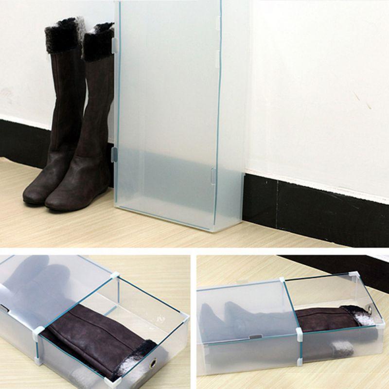 Muslo botas grueso Flip zapatos transparente cajón caja de plastico para zapatos apilables caja de almacenamiento organizador de almacenamiento de zapatos