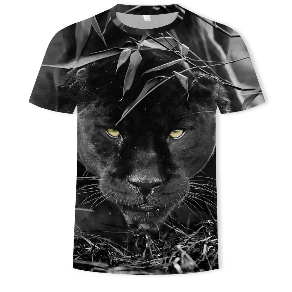 Camiseta para hombre de animales, León, Tigre, cuello redondo, manga corta, dibujo animado 3d, estampado para hombre, camiseta informal de playa, camiseta de gran tamaño