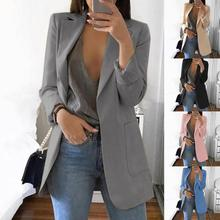 Fashion Women Office Suit Solid Color No Button Lapel Slim Fits Blazer Coat