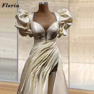 Floor Length Pearls Evening Dresses Plated Prom Dress Celebrity Party Gowns 2021 Customized Dubai Arabic Women Evening Wear Gown