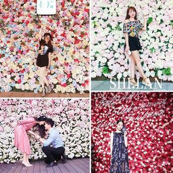 Artificial Rose Wall Background Wall False Flower Head Christmas Activities Birthday Wedding Photo Studio Image Wall Decoration