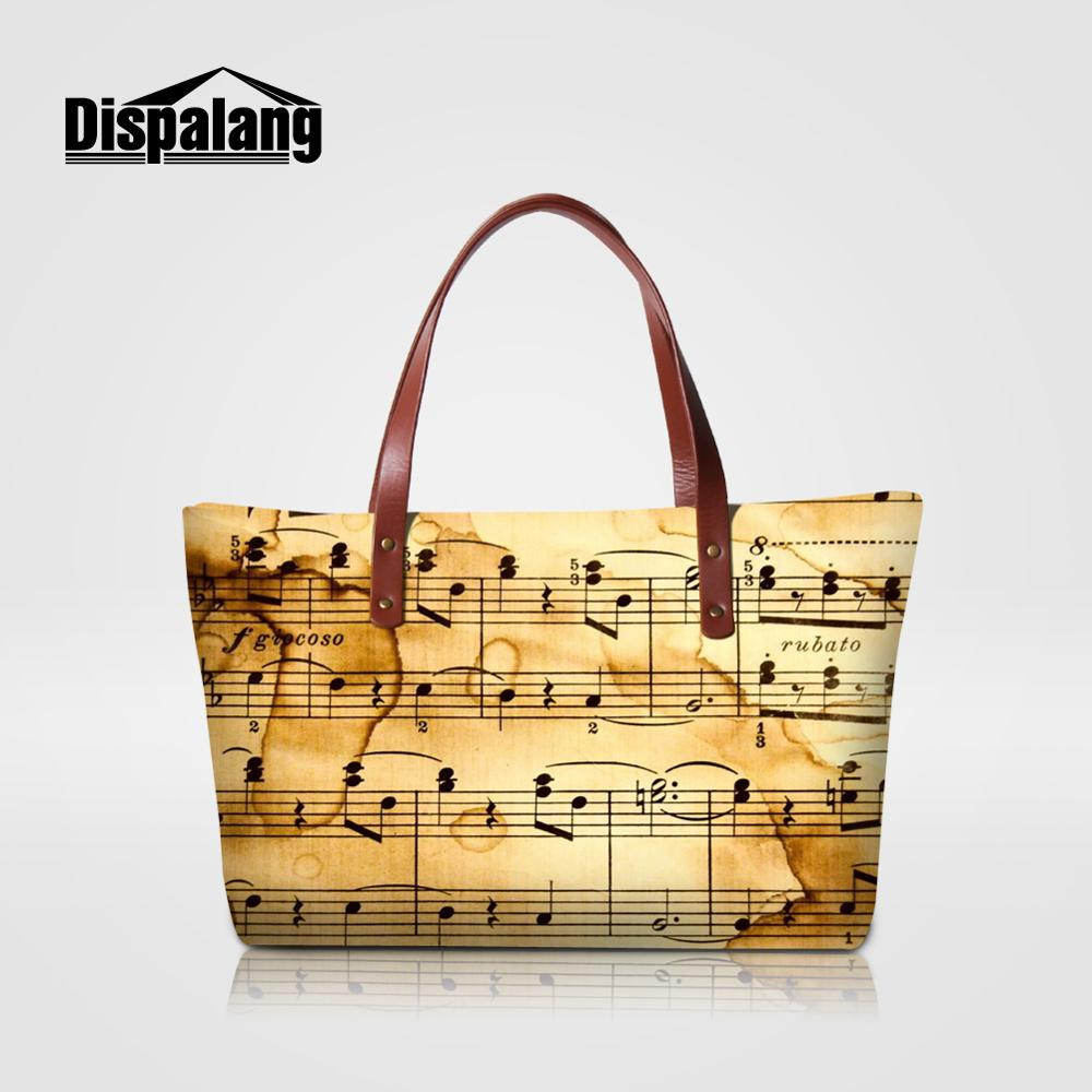 Dispalang-حقيبة يد نسائية بمقبض علوي ، حقيبة حمل مع نوتات موسيقية مطبوعة ، حقيبة يد عالية الجودة للشاطئ