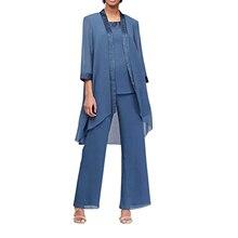 Kobiet 3-sztuk zestaw matka suknia dla panny młodej stroje Pant garnitury elegancki formalna szyfonowa Plus rozmiar dla ślubne formalne