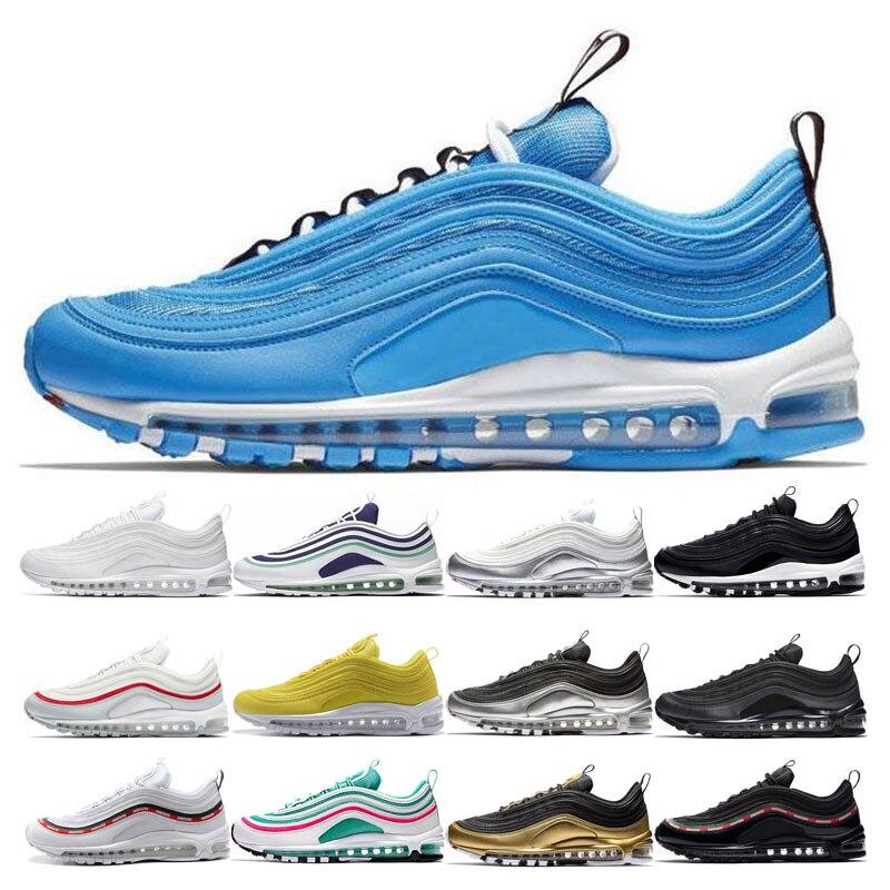 Nuevo overmarking azul hero zapatillas de correr para hombre mujeres negro metálico oro playa del sur Triple Amarillo Blanco invicto deporte Sne