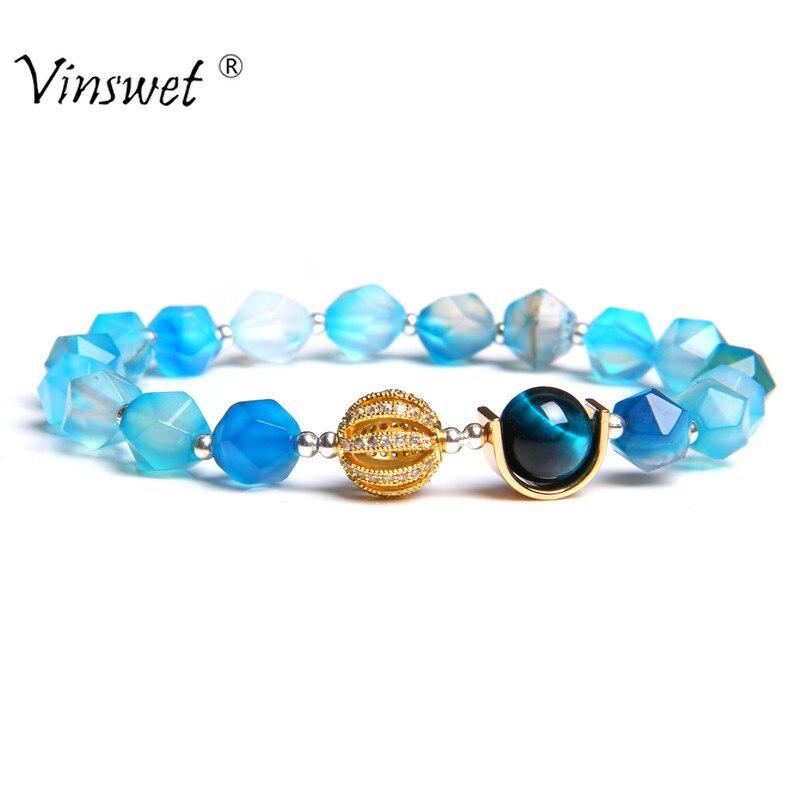 Pulseras de lujo para hombres y mujeres, pulseras de piedra Natural para hombres, mujeres, Rey, corona, pulsera, joyería para hombre, pulsera de Yoga, regalo