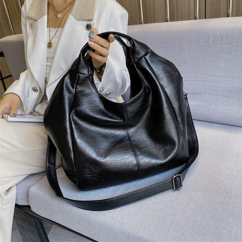 Women Leather Tote Hobo Bag Large Handbags for Women 2020 Big Shoulder Bags Female Solid Color Simple Crossbody Bags Balck Sac