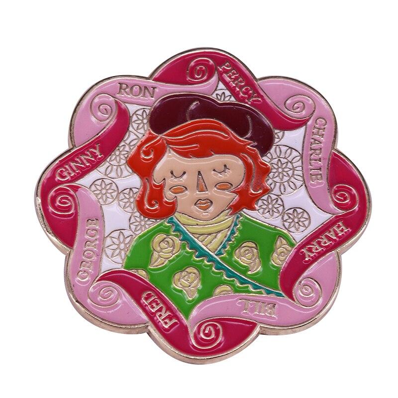 Broche de la familia wizarding de PVC con estampado floral de punto, pin de reloj, insignia de lombriz, regalo para seguidores