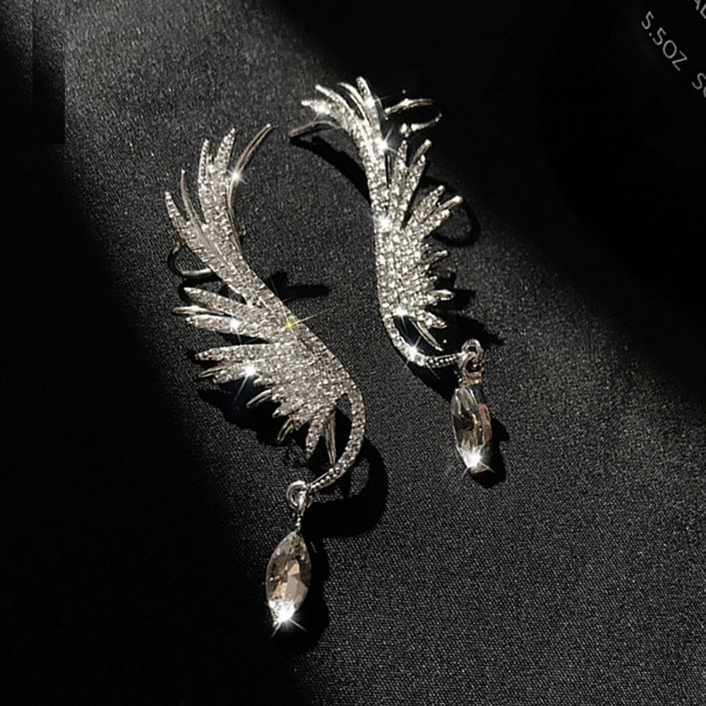 Pendientes de alas de Nuevo Ángel 2020 para mujer, Pendientes colgantes de estrás exagerados a la moda, pendientes elegantes que previenen la alergia