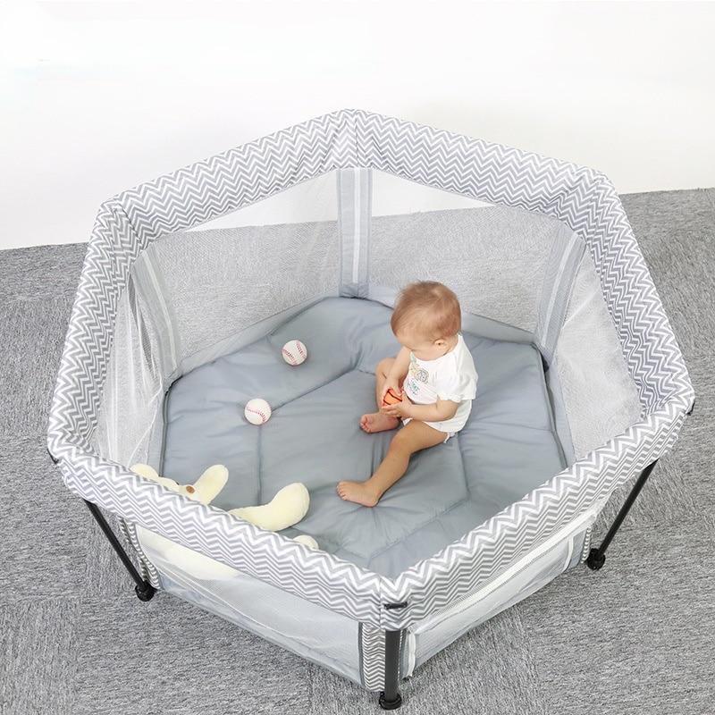 Baby Portable Mesh Fence Play Bed Home Outdoor Dual-purpose Baby Toddler Crawling Hexagonal Folding Crib Multifunctional Crib