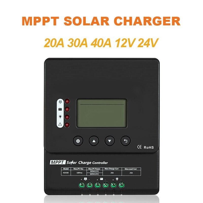 Easun power display lcd 20a 30a 40a mppt 12 v/24 v painel solar regulador de bateria controlador carga com rs485
